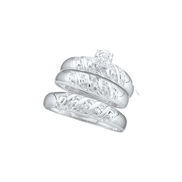 10kt White Gold His & Hers Round Diamond Solitaire Matching Bridal Wedding Ring Band Set 1/12 Cttw
