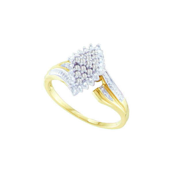 10kt Yellow Two-tone Gold Womens Round Prong-set Diamond Oval Cluster Ring 1/8 Cttw