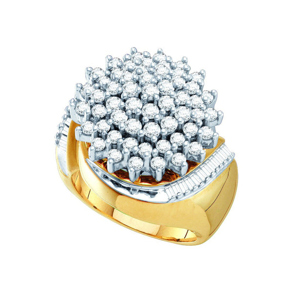 10kt Yellow Gold Two-tone Womens Round Diamond Cluster Ring 2.00 Cttw