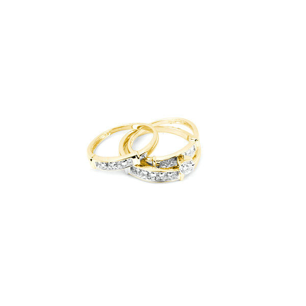 10kt Yellow Gold His & Hers Round Diamond Solitaire Matching Bridal Wedding Ring Band Set 1.00 Cttw