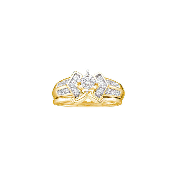 10kt Yellow Gold Womens Round Diamond Bridal Wedding Engagement Ring Band Set 1/4 Cttw