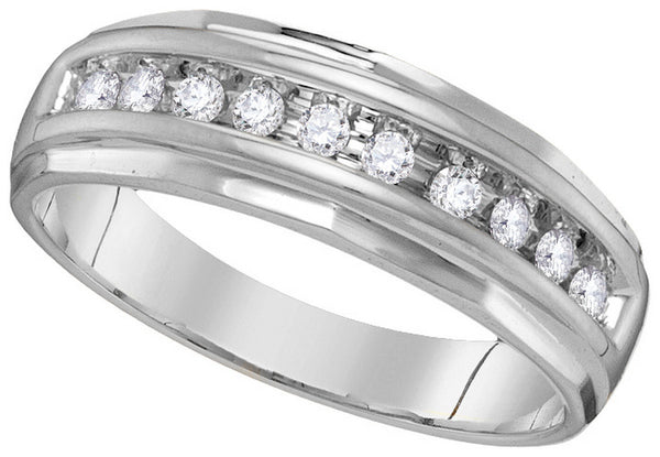 10kt White Gold Mens Round Channel-set Diamond Wedding Anniversary Band Ring 1/4 Cttw
