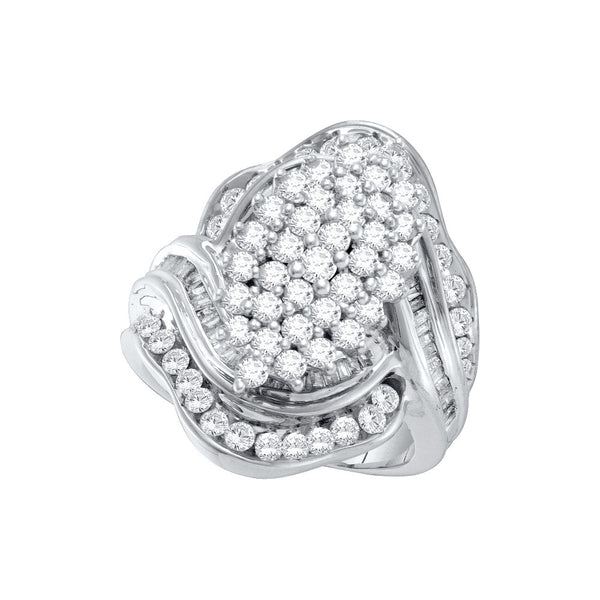 10kt White Gold Womens Round Prong-set Diamond Oval Cluster Ring 1-3/4 Cttw