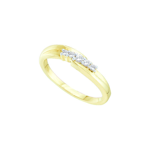 10kt Yellow Gold Womens Round Diamond 5-stone Simple Band 1/8 Cttw