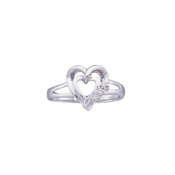 10kt White Gold Womens Round Diamond Simple Heart Ring .03 Cttw