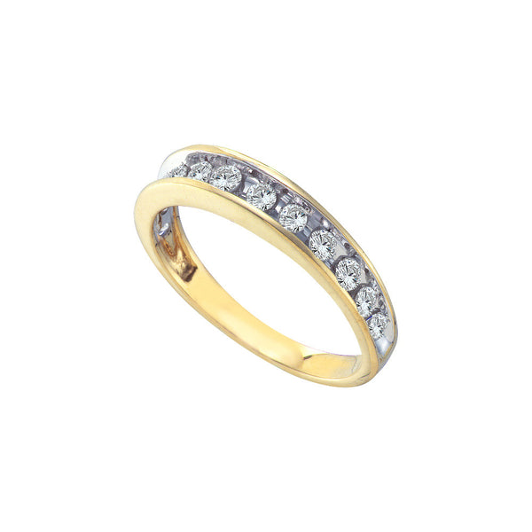 14kt Yellow Gold Womens Round Channel-set Diamond Single Row Wedding Band 1/2 Cttw