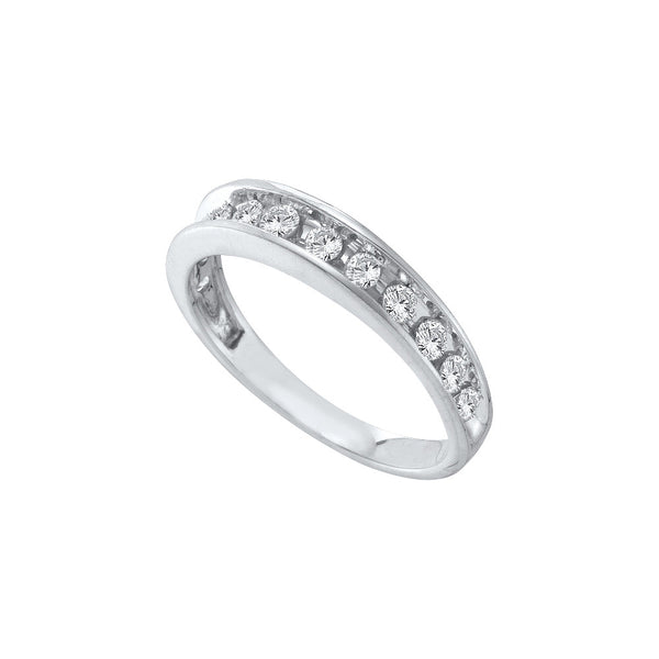 14kt White Gold Womens Round Channel-set Diamond Single Row Wedding Band 1/2 Cttw