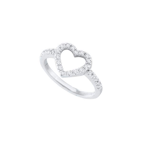 14kt White Gold Womens Round Diamond Simple Heart Outline Ring 1/5 Cttw