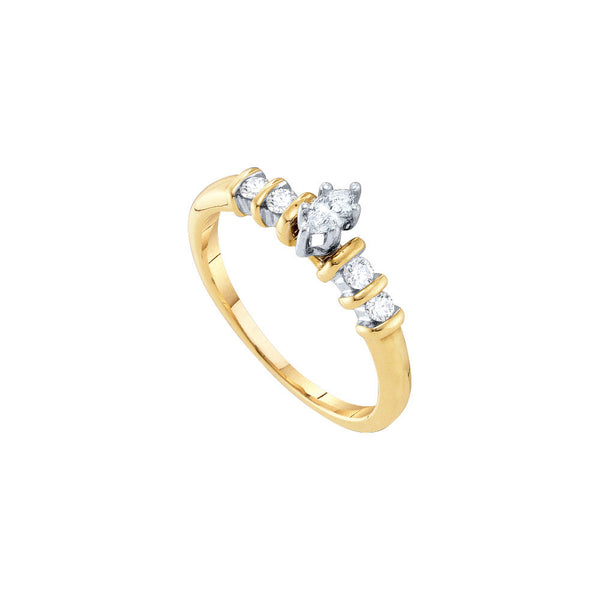 10kt Yellow Gold Womens Marquise Diamond Solitaire Bridal Wedding Engagement Ring 1/4 Cttw