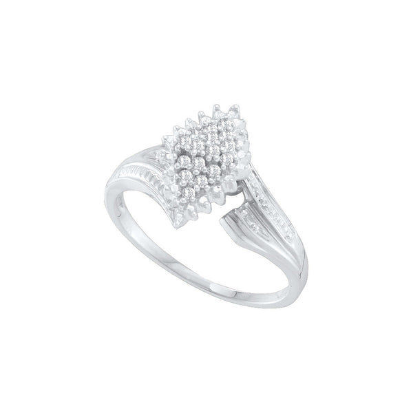 10kt White Gold Womens Round Prong-set Diamond Oval Cluster Ring 1/8 Cttw