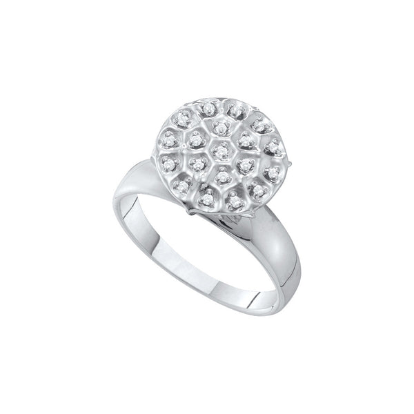 10kt White Gold Womens Round Diamond Large Illusion Cluster Ring 1/10 Cttw