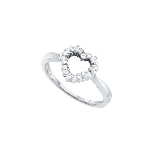 10kt White Gold Womens Round Diamond Heart Outline Ring 1/10 Cttw