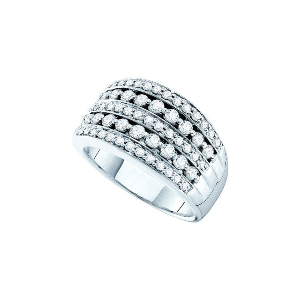 14k White Gold Womens Round Diamond Striped Pave Cocktail Band Ring 1.00 Cttw