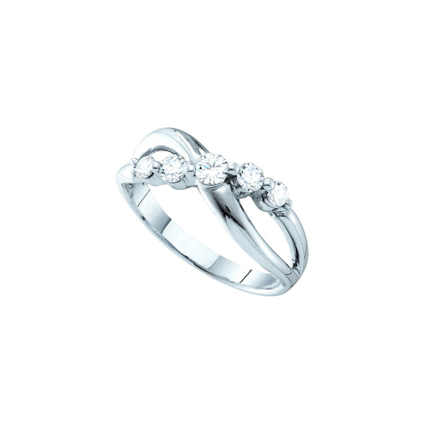 14kt White Gold Womens Round Diamond 5-stone Infinity Crossover Ring 1/2 Cttw