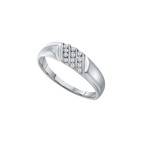 10kt White Gold Mens Round Channel-set Diamond Diagonal Triple Row Wedding Band 1/8 Cttw