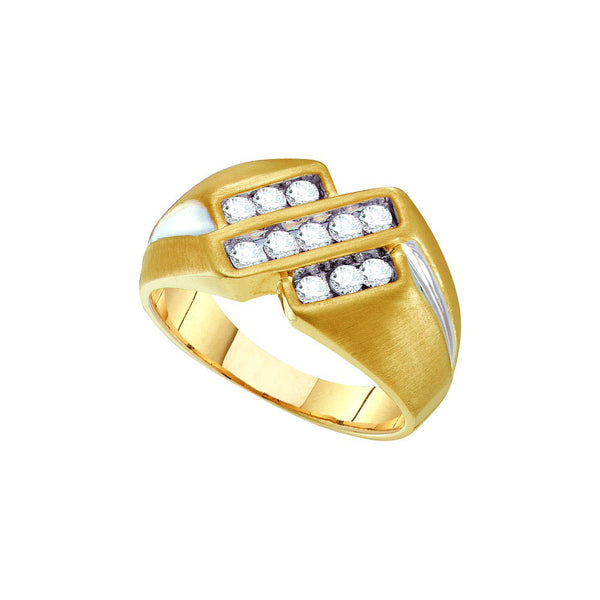 10kt Yellow Two-tone Gold Mens Round Channel-set Diamond Triple Row Band Ring 1/2 Cttw