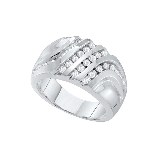 10kt White Gold Mens Round Diamond Four Row Cluster Ring 1/2 Cttw