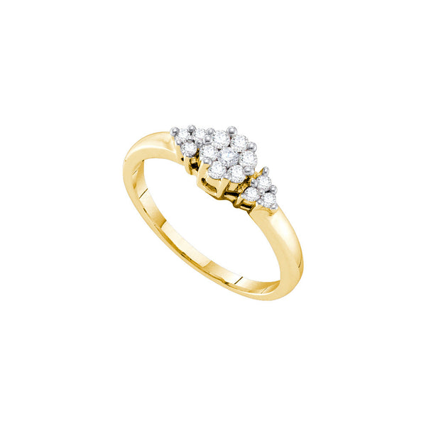 14kt Yellow Gold Womens Round Diamond Cluster Ring 1/4 Cttw
