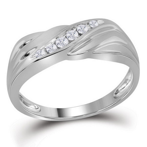 10kt White Gold Mens Round Diamond Diagonal Single Row Wedding Band Ring 1/8 Cttw