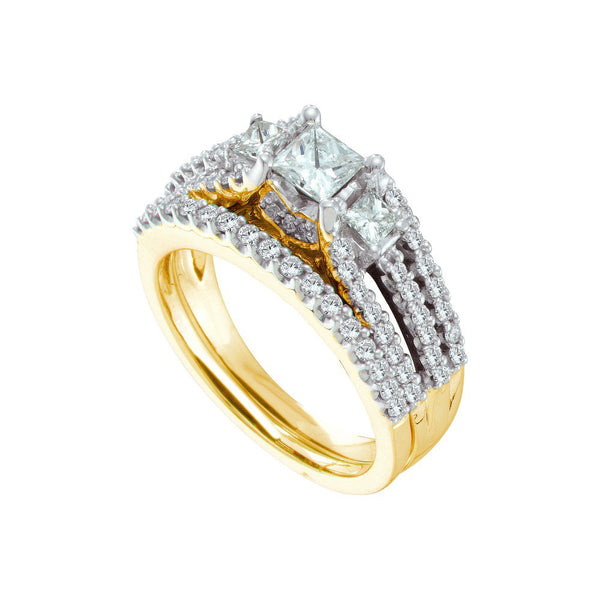 14k Yellow Gold 3-stone Princess Diamond Womens Wedding Ring Bridal Set 1-1/4 Cttw