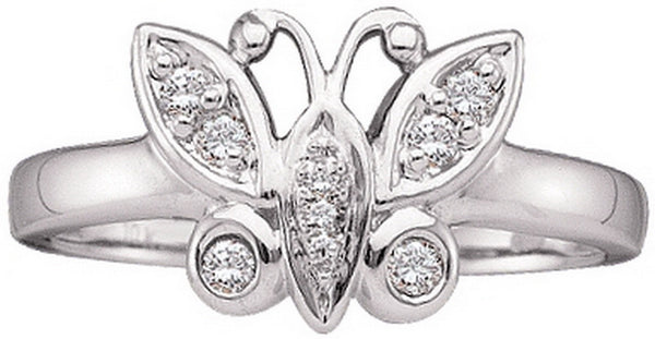 14kt White Gold Womens Round Diamond Butterfly Bug Cluster Ring 1/10 Cttw