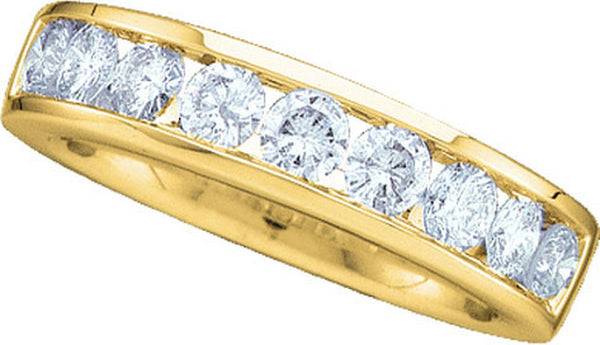 14kt Yellow Gold Womens Round Diamond Band Wedding Anniversary Ring 1.00 Cttw