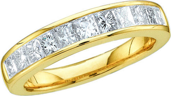 14kt Yellow Gold Womens Princess Diamond Band Wedding Anniversary Ring 1/4 Cttw Size 5