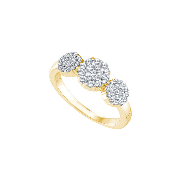 14kt Yellow Gold Womens Round Diamond Triple Flower Cluster Ring 1/2 Cttw