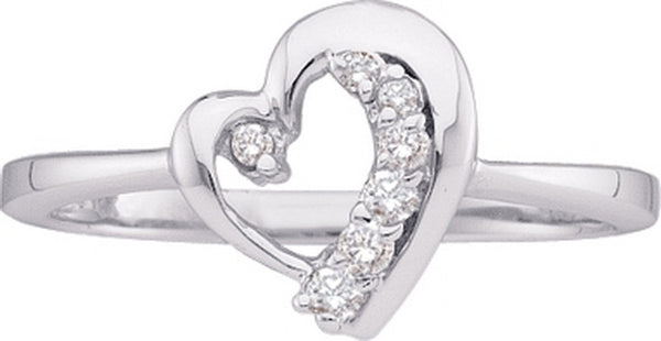 10kt White Gold Womens Round Diamond Heart Journey Ring 1/10 Cttw