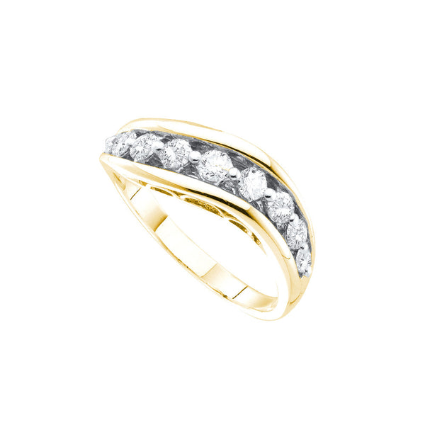 14kt Yellow Gold Womens Round Pave-set Diamond Arched Band 1/2 Cttw