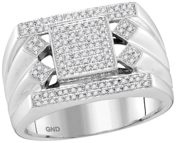 10kt White Gold Mens Round Diamond Square Center Cluster Ring 3/8 Cttw