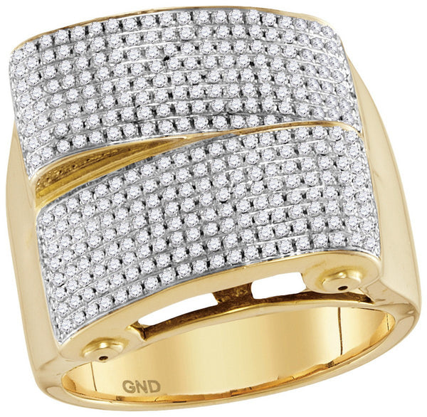10kt Yellow Gold Mens Round Pave-set Diamond Rectangle Cluster Ring 1-1/6 Cttw