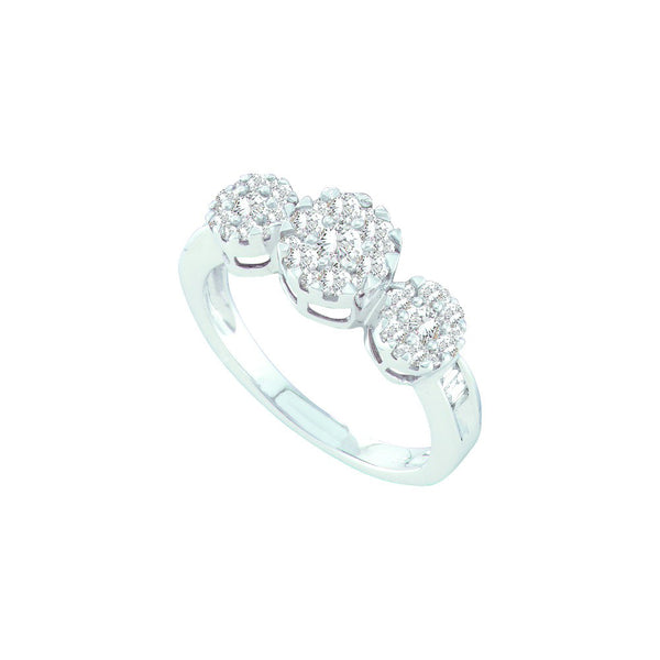 14kt White Gold Womens Round Diamond Triple Flower Cluster Ring 3/4 Cttw