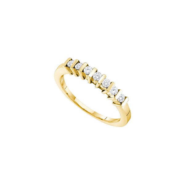 14kt Yellow Gold Womens Round Channel-set Diamond Single Row Band 1/6 Cttw