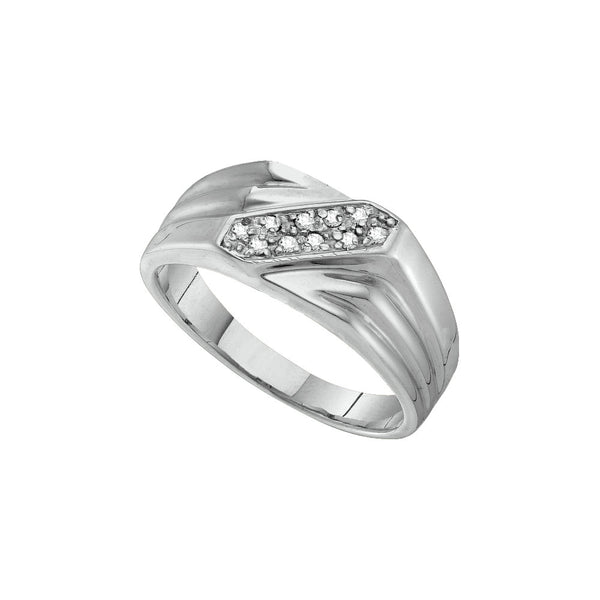 Sterling Silver Mens Round Prong-set Diamond Diagonal Double Row Band Ring 1/10 Cttw