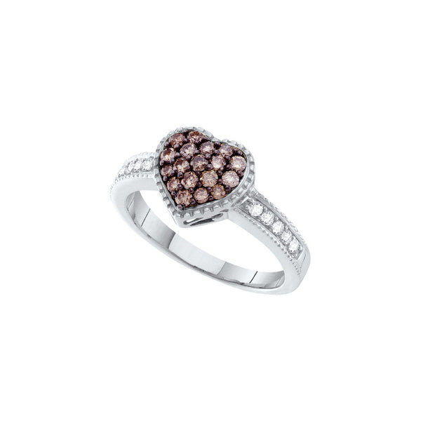 14kt White Gold Womens Round Cognac-brown Colored Diamond Heart Cluster Ring 3/8 Cttw
