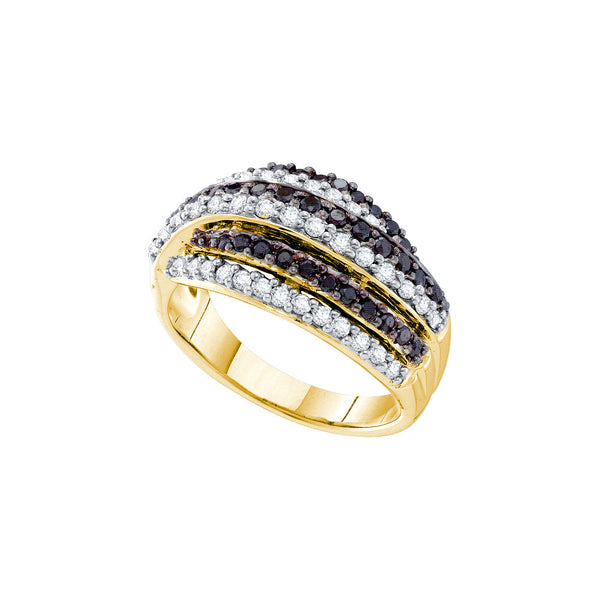 14kt Yellow Gold Womens Round Black Colored Diamond Stripe Band 1-1/10 Cttw