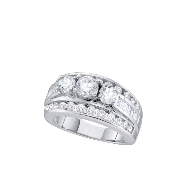 14kt White Gold Womens Round Diamond 3-stone Bridal Wedding Engagement Ring 2.00 Cttw