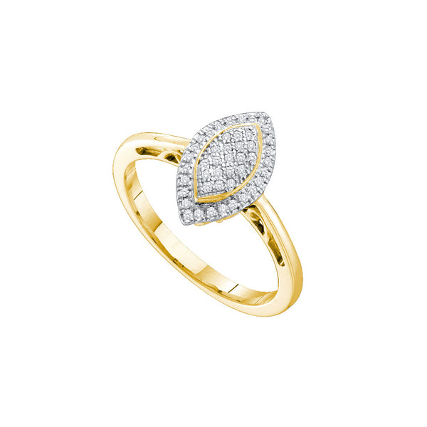 10kt Yellow Gold Womens Round Diamond Oval Frame Cluster Ring 1/6 Cttw