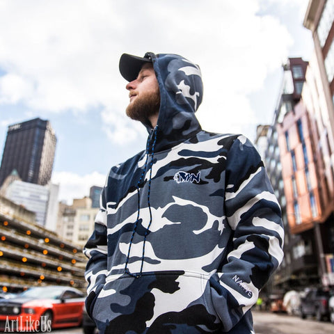 MWN Blue Camo Chief Hooded Sweatshirt