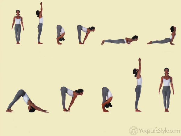 The Typical Surya Namaskar Sun Salutation A Sequence Is Depicted Below