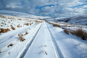 England, Northumberland, Northumberland National Park. Farm tracks running through a fresh snowfall in the Breamish Valley.