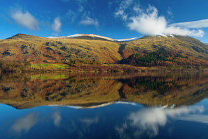 England, Cumbria, Lake District National Park. Lakeland hills reflected upon the still face of the Thirlmere Reservoir