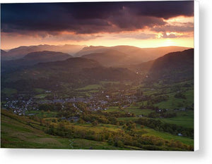 Last light over Ambleside, Lake District National Park Canvas Print