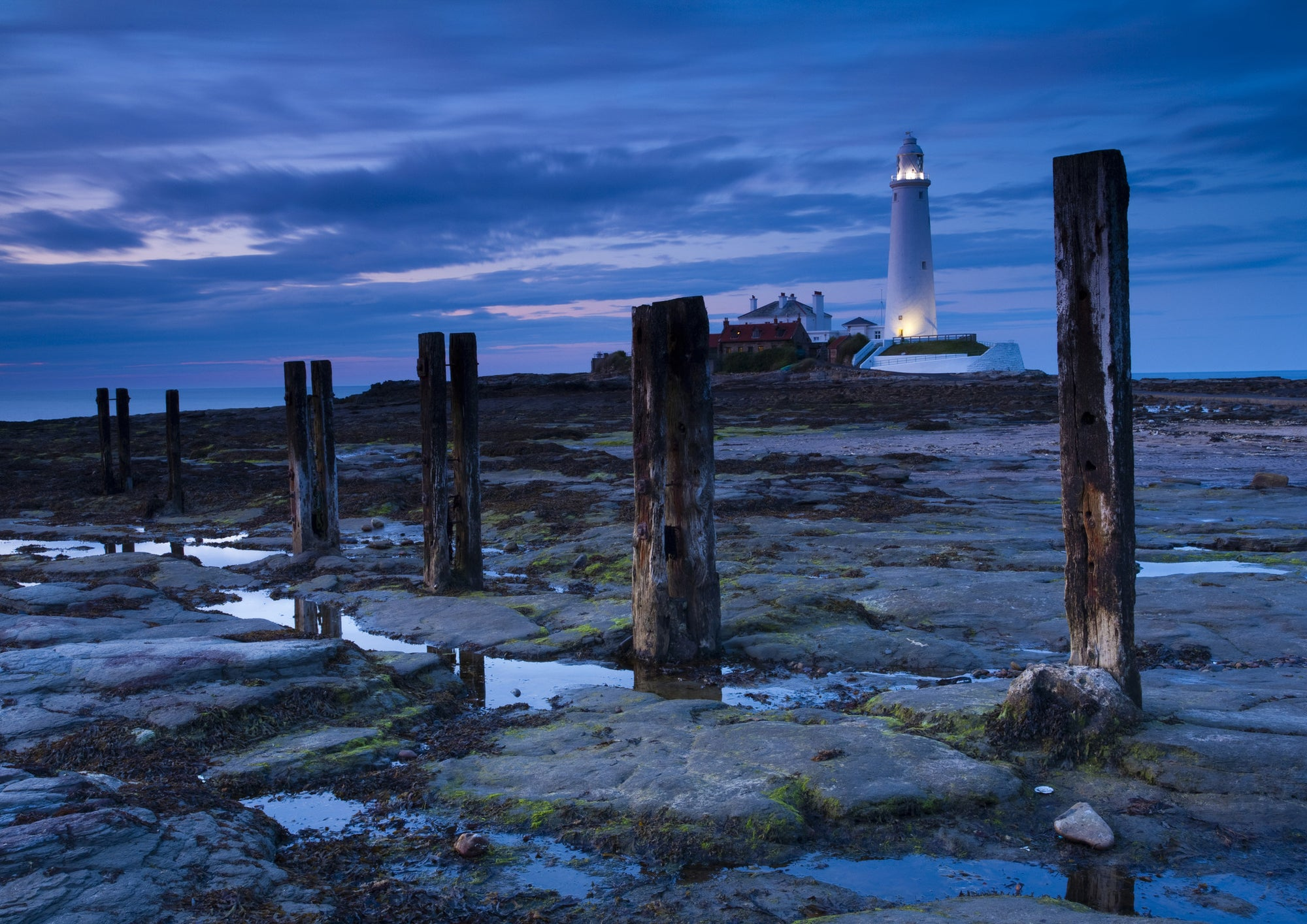 Dusk - St Mary's Lighthouse, Whitley Bay, A5 Greeting Card