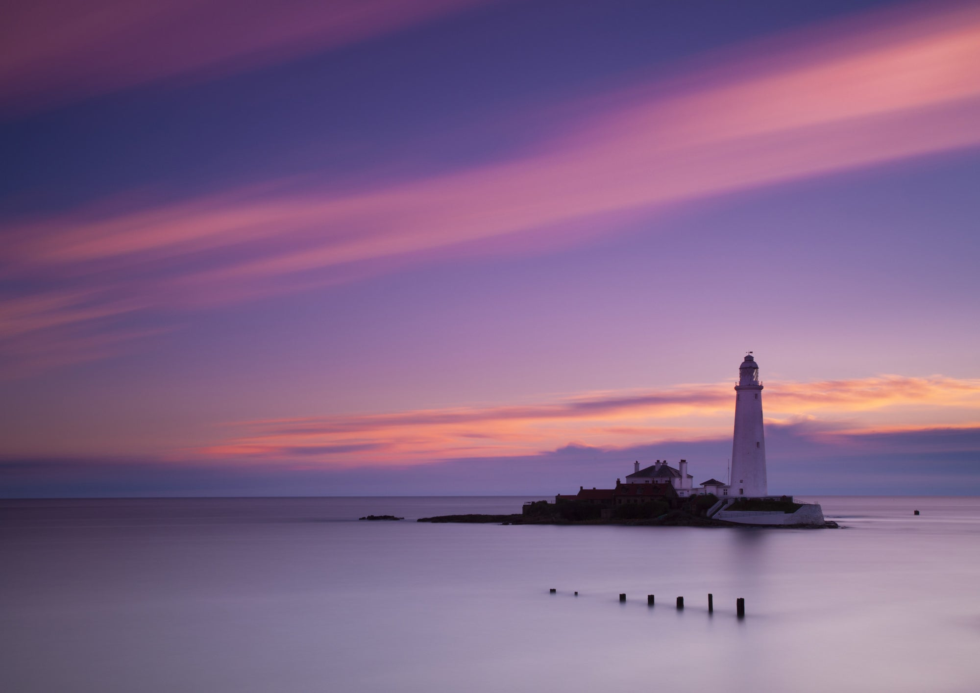 Pre-Dawn Skies - St Mary's Lighthouse, Whitley Bay, A5 Greeting Card