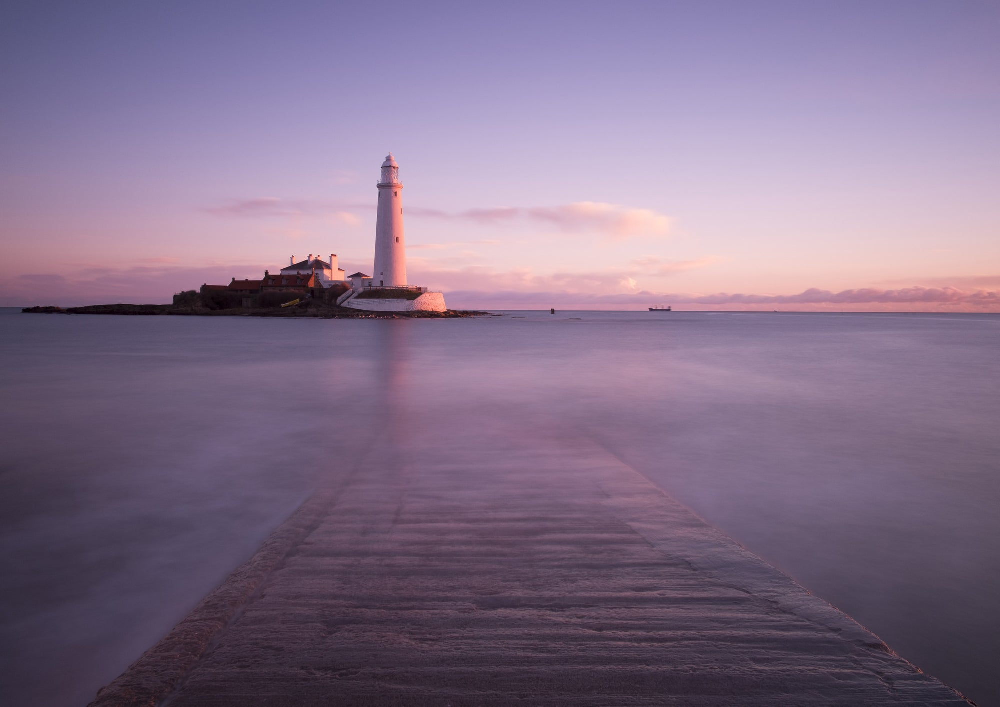 The Causeway - St Mary's Lighthouse, Whitley Bay, A5 Greeting Card