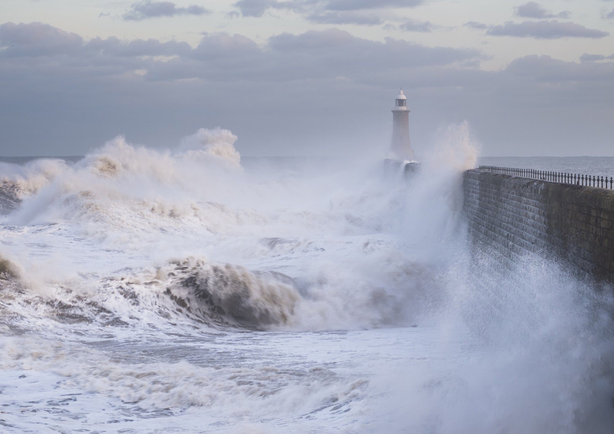 Winter Storm – Tynemouth Pier and Lighthouse A5 Greeting Card