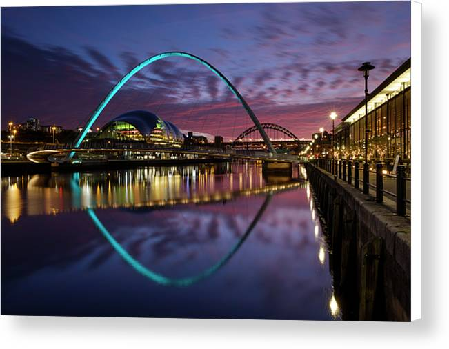 Quayside at Night, Newcastle Upon Tyne Canvas Print