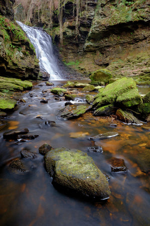England, Northumberland, Hareshaw Linn. Hareshaw Linn, a waterfall located in the Northumberland National Park, England, UK